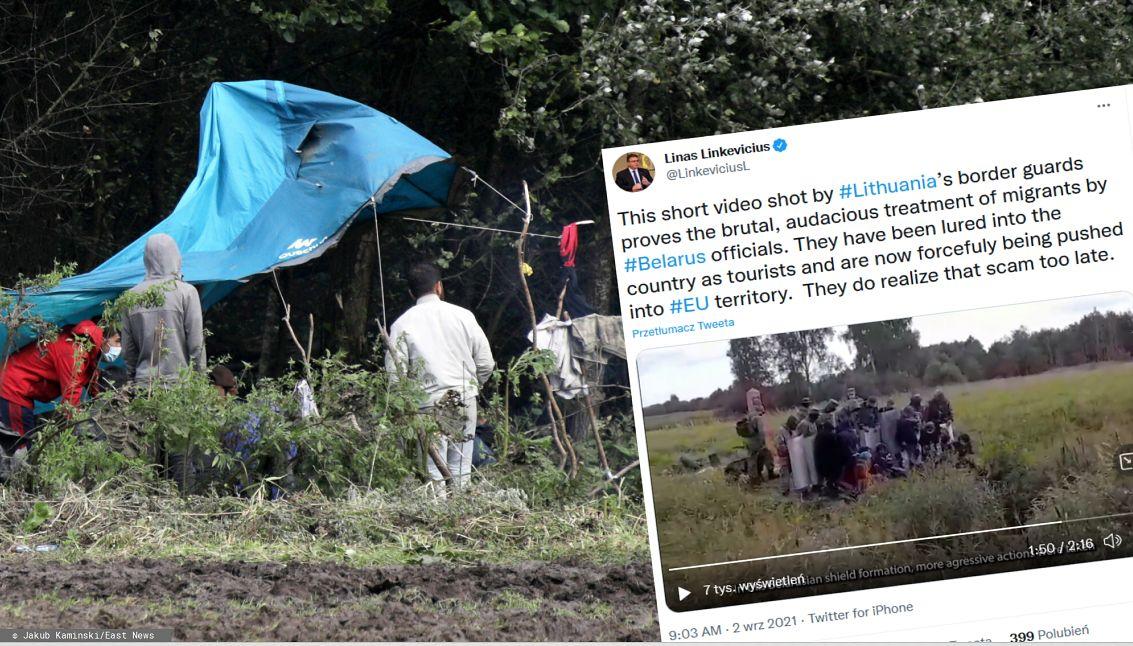 """Tak białoruskie służby """"wypychają"""" migrantów na teren UE.  Do sieci trafiło nagranie z granicy z Litwą(East News)"""
