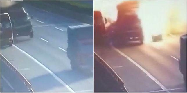 Kamera uchwyciła eksplozję po zderzeniu ciężarówek