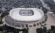 Przygotowania do budowy konstrukcji fasady Stadionu Narodowego
