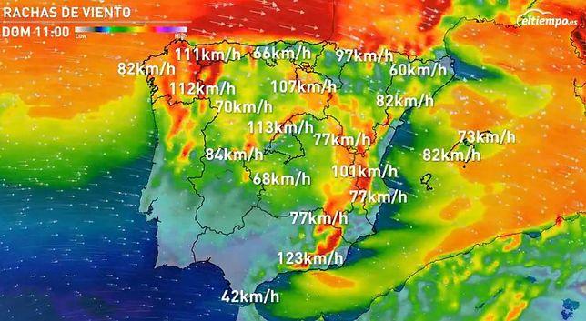 Prognoza uwzględniająca podmuchy wiatru w niedzielny poranek nad Półwyspem Iberyjskim.