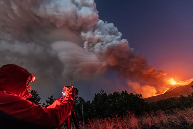 Widowiskowa erupcja Etny 9 sierpnia br.