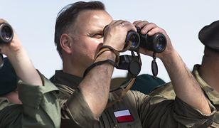 Andrzej Duda  podczas zakończenia ćwiczeń Dragon-19 w Orzyszu. 25 czerwca 2019 r.