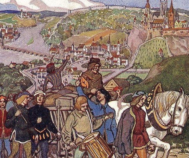 Tak wyglądała Praga w 1409 roku według niemieckiej pocztówki z 1912 roku