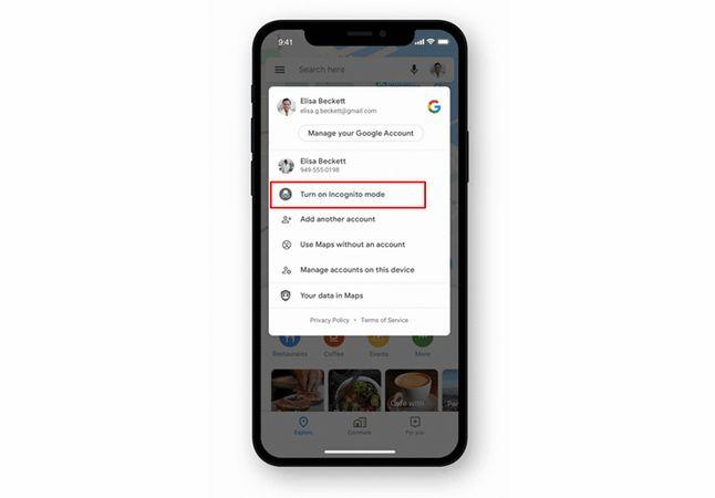 Tryb incognito w Mapach Google w iOS-ie, fot. Google.