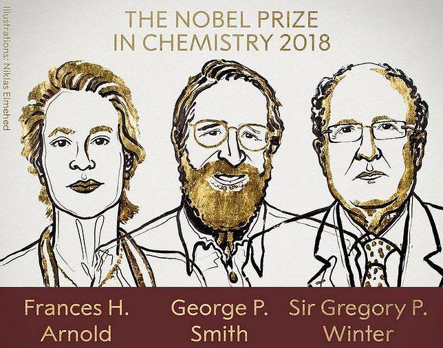 Laureaci nagrody Nobla z chemii 2018. Od lewej Frances Arnold, George Smith, Gregory Winter