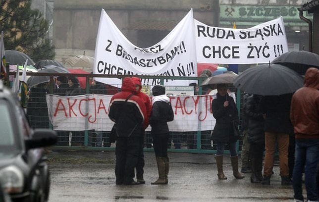 Protest w KWK Pokój w Rudzie Śląskiej