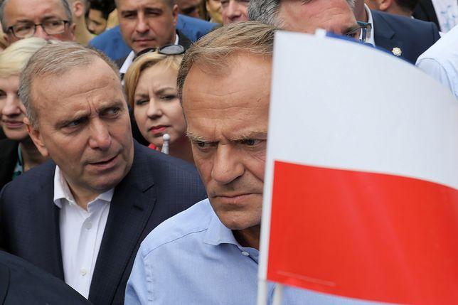 """Grzegorz Schetyna i Donald Tusk na marszu """"Polska w Europie"""""""