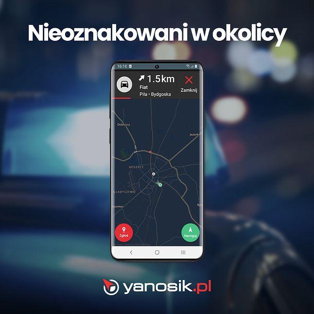 Yanosik wprowadza powiadamianie o nieoznakowanych radiowozach, fot. materiały prasowe.