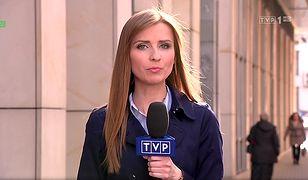 Ewa Bugała w trakcie relacji dla TVP