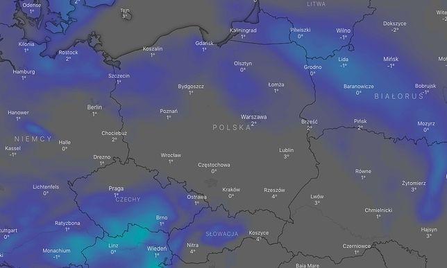 Pogoda. Opady śniegu w ciągu najbliższych 12 godzin (źródło: windy.com)