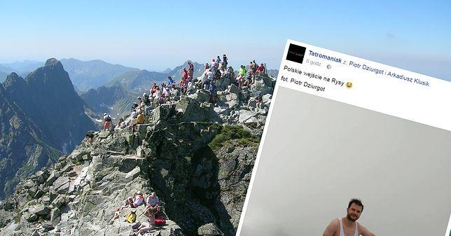 """Tym zdjęciem podbili sieć. Pokazali jak zdobywa Rysy """"polski Janusz"""""""