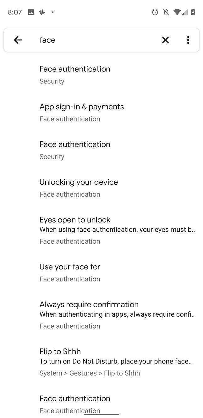 Ustawienia dotyczące rozpoznawania twarzy w Androidzie Q Beta, źródło: 9to5Google.