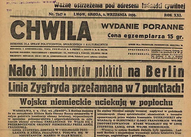 """Pierwsza strona lwowskiego dziennika """"Chwila"""" z 6 września 1939 r."""
