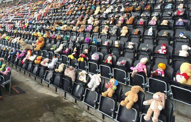 11 tysięcy misiów usiadło na trybunach stadionu w hołdzie dla zmarłej dziewczynki
