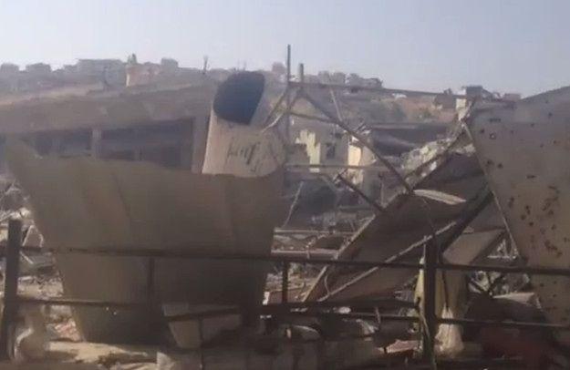 Kadr z nagrania rzekomo ukazującego zniszczenia po katastrofie