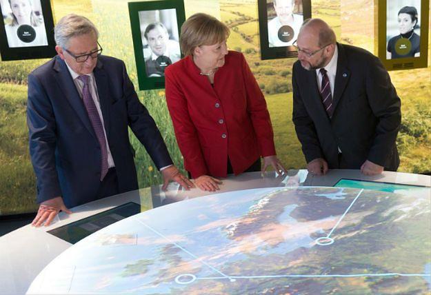 Jean-Claude Juncker, Angela Merkel i Martin Schulz