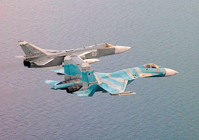 Rosyjskie samoloty Su-24 i Su-27.