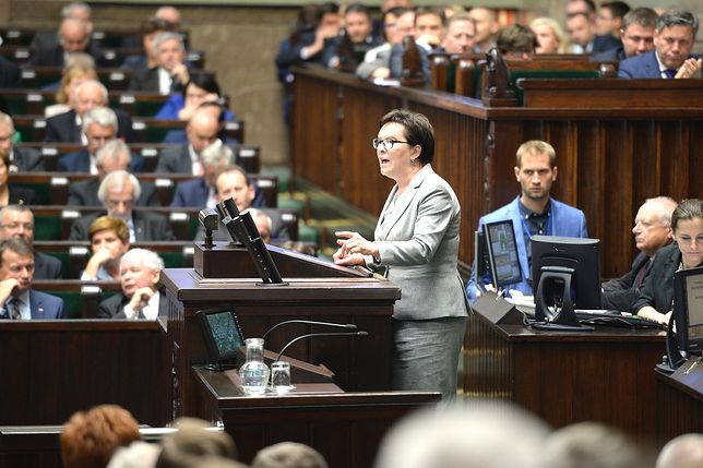 Warszawa, 11.09.2015. Premier Ewa Kopacz przemawia w Sejmie