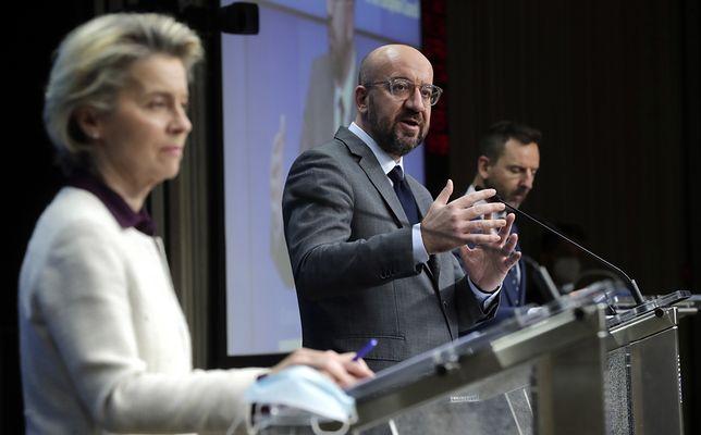 Bruksela. Ursula von der Leyen oraz Charles Michel podczas konferencji prasowej