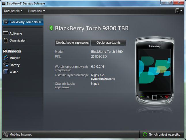 Aplikacja BlackBerry Desktop