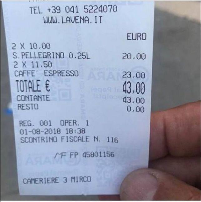 Taki rachunek otrzymał gość kawiarni mieszczącej się na Placu św. Marka