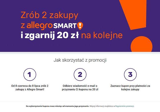 Allegro zachęca do zakupów, by zyskać kupon rabatowy na przyszłość, fot. Oskar Ziomek.