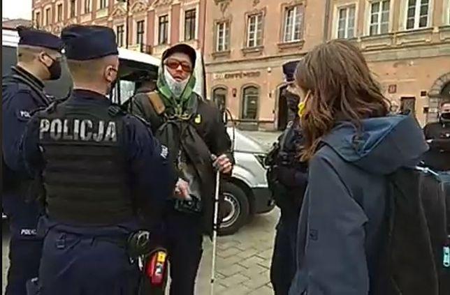 Strajk Przedsiębiorców. Warszawa. Na proteście zatrzymano niewidomego. Wywieźli go za Warszawę