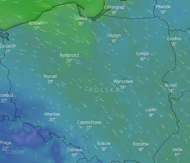 Pogoda. Mapa dotyczy poniedziałku, godz. 13