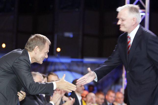 Donald Tusk i Jarosław Gowin, konwencja krajowa PO, 2013 r.