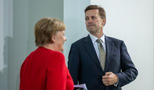 Niemcy - Afera szpiegowska. Kanclerz Angela Merkel i rzecznik jej rządu Steffen Seibert