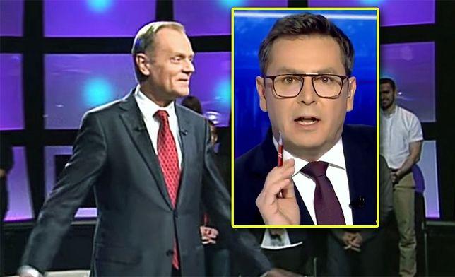 """Zaskoczony Donald Tusk w programie Tomasza Lisa, kiedy to publiczność odśpiewała mu """"Sto lat"""""""