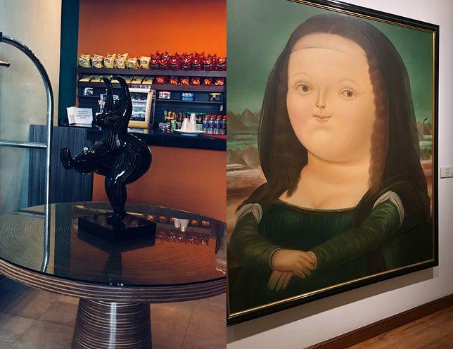 Figurka w hotelowym lobby oraz Mona Lisa według Botero.