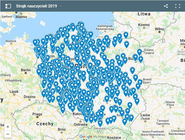 Interaktywna mapa placówek oświatowych, które po referendum zgłosiły gotowość do strajku.