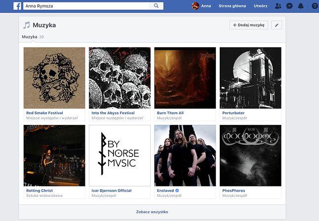 """Moja sekcja """"Muzyka"""" na Facebooku"""
