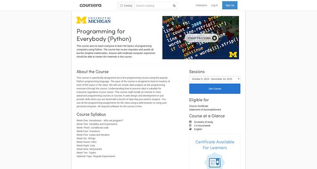 Jeden z najpopularniejszych kursów Coursery: University of Michigan zachęca każdego do programowania w Pythonie