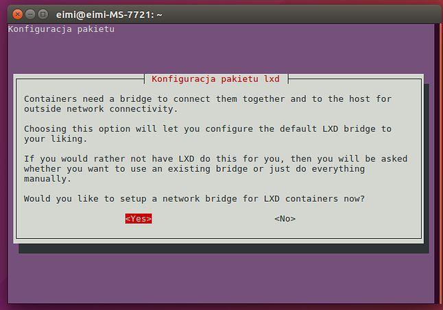 Konfiguracja demona LXD: jesteśmy prowadzeni za rączkę