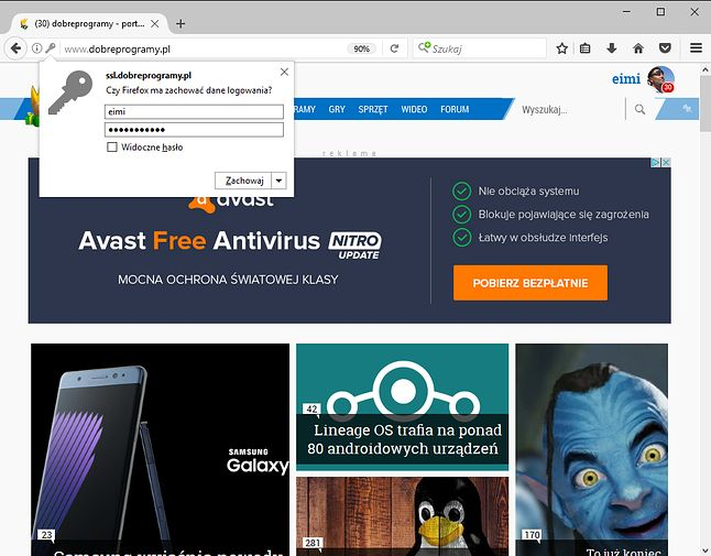 Przed dodaniem hasła Firefox pozwoli je zobaczyć