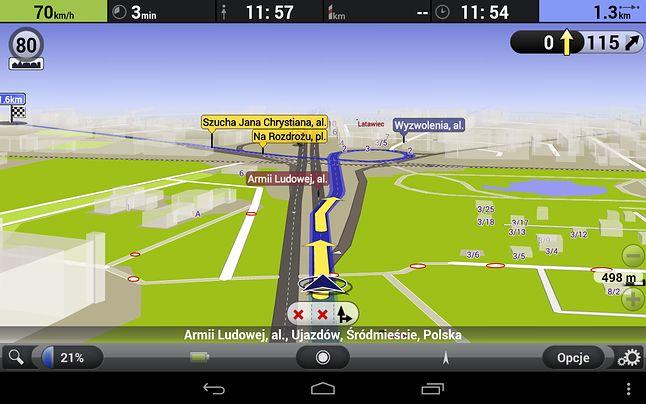 AutoMapa w wersji na Androida także pokazuje limity prędkości.