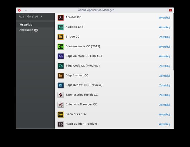 Adobe Application Manager pozwala też na aktualizacje oprogramowania na Linuksie