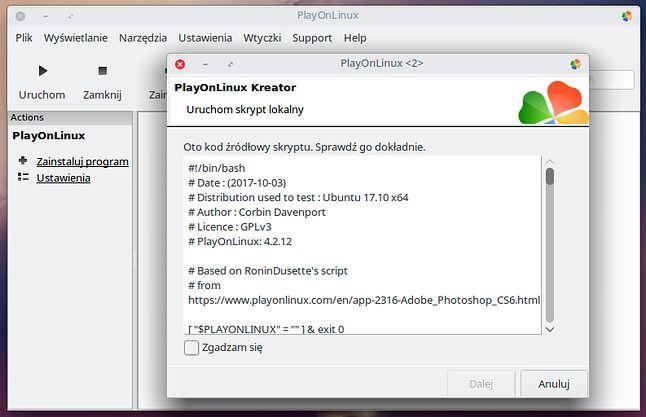 Skrypt do instalacji Photoshopa w PlayOnLinux