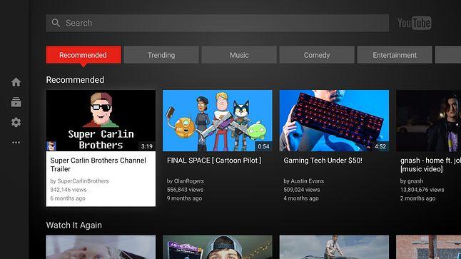 Strona internetowa robi za aplikację YouTube na Android TV
