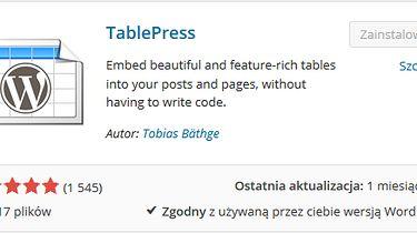 WordPress — moje ulubione wtyczki: TablePress
