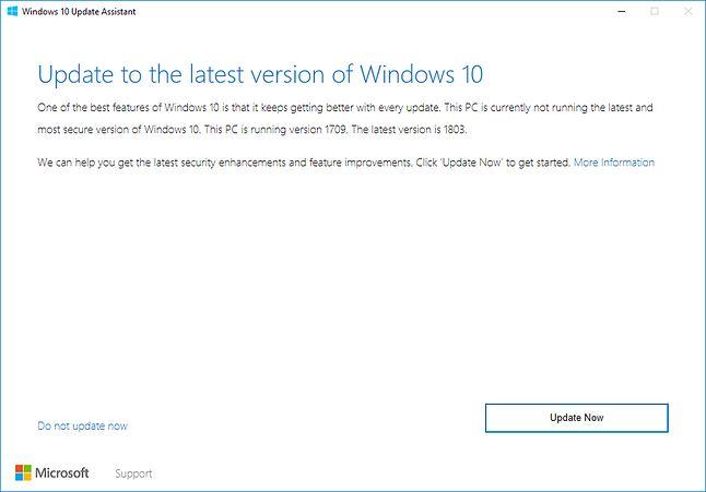 Komunikat zachęcający do instalacji nowego wydania systemu Windows 10 (na przykładzie wersji 1803), źródło: Microsoft.