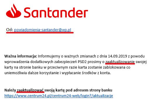 Fałszywa wiadomość, w której podszywający się pod bank nadawcy zachęcają do kliknięcia w link, fot. Santander.