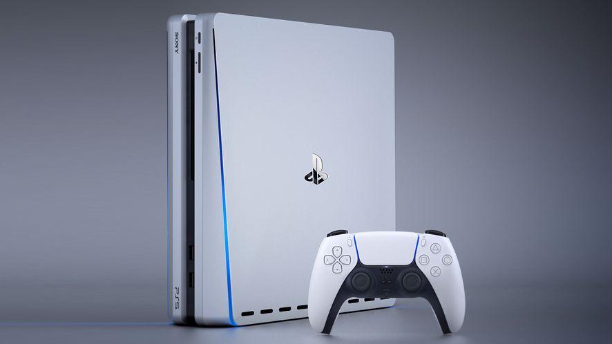 Grafika koncepcyjna PlayStation 5: prawdziwy kontroler DualSense i artystyczna wizja konsoli, fot. Snoreyn/LetsGoDigital