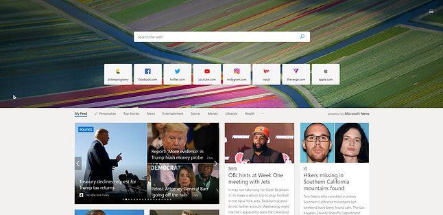 """Inna konfiguracja strony startowej, tutaj ze """"zdjęciem dnia"""" w tle i widocznym agregatem wiadomości ze świata."""