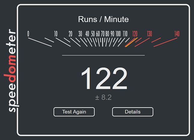Wynik nowego, testowego Edge'a w teście Speedometer 2.0.