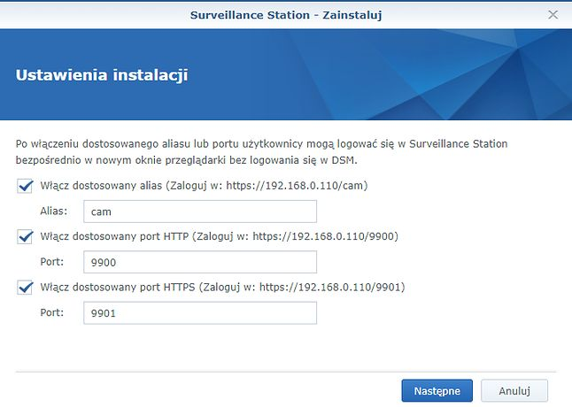 Podczas instalacji Surveillance Station można zdecydować o uruchomieniu dodatkowych aliasów.
