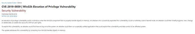 Fragment opisu luki CVE-2019-0859, źródło: Microsoft.