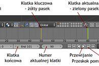Grafika 3D: Blender, cz. XVI – animacja  - Linia czasowa (timeline) - pasek na dole ekranu z klatkami (frames)